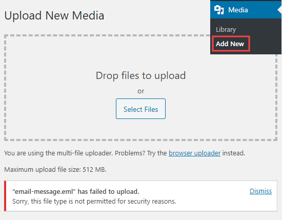 """How to Fix """"Sorry, This File Type Is Not Permitted for Security Reasons"""" Error in WordPress"""